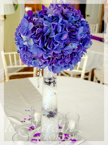 Palm Beach Wedding Florist Tall Purple Centerpiece